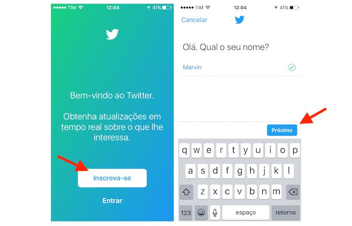 Iniciando a criação de uma conta do Twitter pelo aplicativo para celular (Foto: Reprodução/Marvin Costa) (Foto: Iniciando a criação de uma conta do Twitter pelo aplicativo para celular (Foto: Reprodução/Marvin Costa))