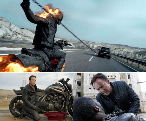 Nicolas Cage em cena de 'Motoqueiro Fantasma 2: Espírito de Vingança', outro personagem da Marvel na Globo (Foto: Divulgação)