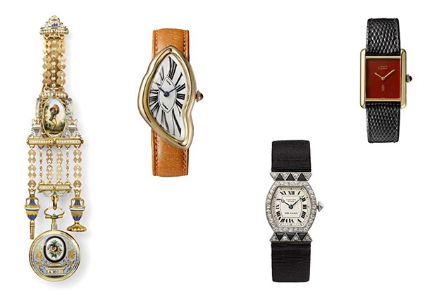 Watches on display at the Cartier exhibition at London's Design Museum, from left: Enamelled watch on chatelaine, Cartier Paris, 1876; 'Crash' wristwatch, Cartier London, 1967 (this model represents an interpretation of a watch damaged in a crash); 'Tortue' wristwatch, Cartier Paris, 1913; Must de Cartier 'Tank' wristwatch,1977 (Foto: MARIAN GÉRARD, CARTIER COLLECTION © CARTIER; VINCENT WULVERYCK, CARTIER COLLECTION © CARTIER)