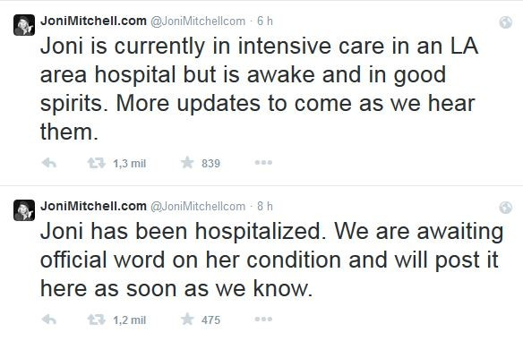 Joni Mitchell (Foto: Twitter/Reprodução)