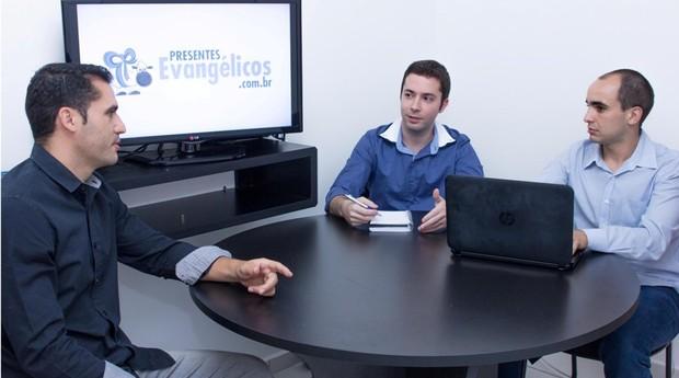 Ricardo Machado, Gustavo Moraes e Guilherme Morais, da Presentes Evangálicos (Foto: Divulgação)