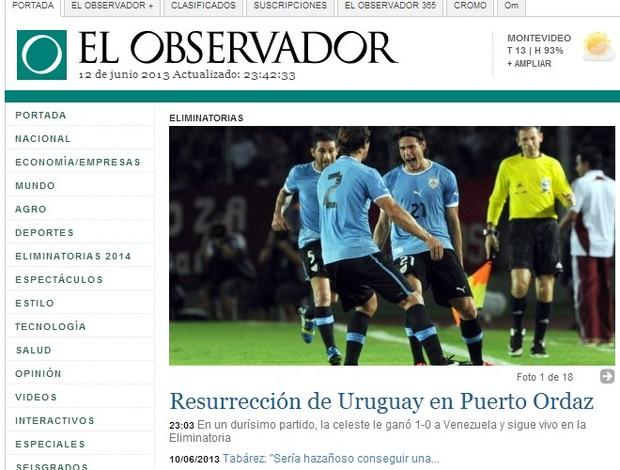 jornal el observador repercussao uruguai venezuela (Foto: Reprodução / El Observador)