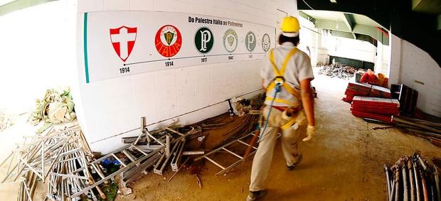 OBRAS NO PALESTRA ITÁLIA (Foto: Marcos Ribolli / Globoesporte.com)