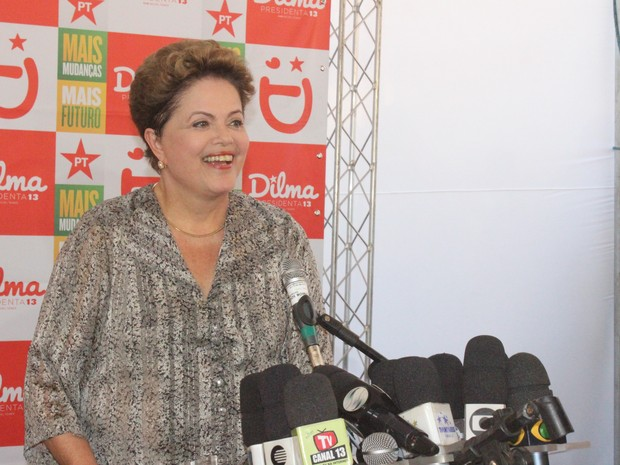 Dilma em coletiva de imprensa em Teresina (Foto: Gilcilene Araújo/G1)