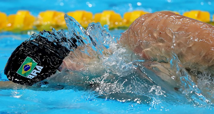 Cesar Cielo, do Brasil, nas disputas da natação no Mundial em Budapeste, na Hungria (Foto: Satiro Sodré/SSPress/CBDA)