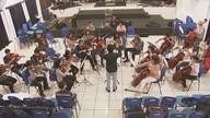 Jovens integrantes de orquestra buscam ajuda para realizar sonho