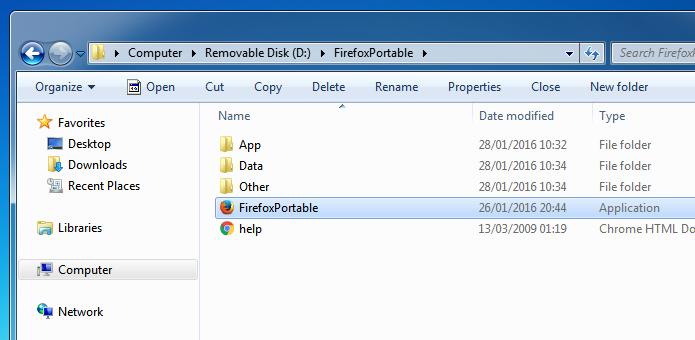 Executando o Firefox Portable (Foto: Reprodução/Helito Bijora)