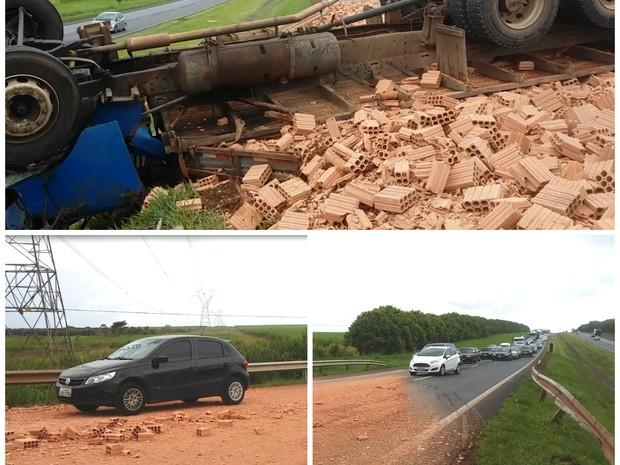 Acidente ocorreu no início da tarde deste sábado e dificultou o tráfego  (Foto  Pedro b0727054f6043