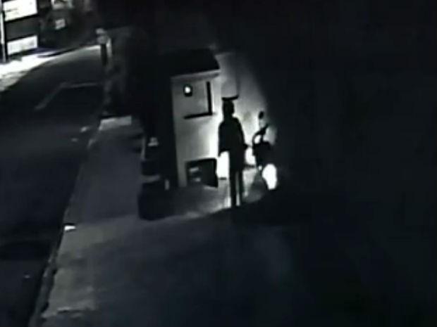 Câmeras flagram mulher furtando ração deixada para cachorros de rua (Foto: Reprodução/TV TEM)