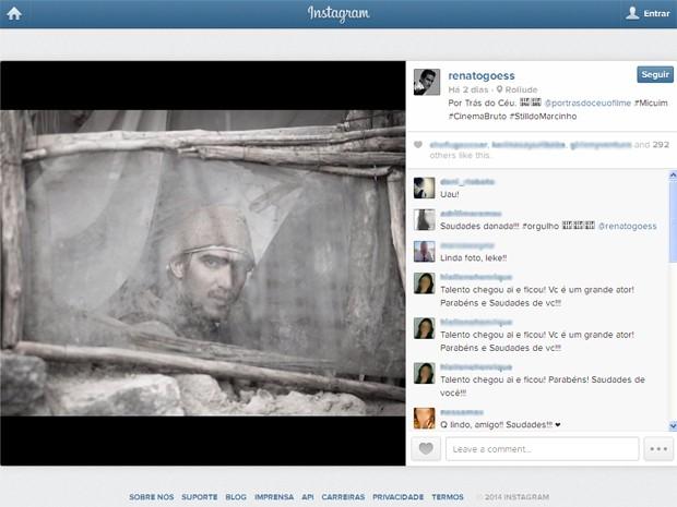 Renato Góes mostra cena com o personagem Micium (Foto: Reprodução/Instagram/@renatogoess)