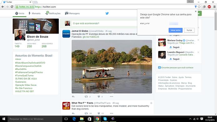 Chrome não perguntará e guardará a senha do usuário automaticamente (Foto: Reprodução/Elson de Souza)
