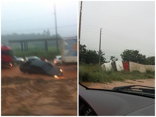 Acidentes registrados na BR-135 durante chuvas em São Luís (Foto: Nivanio Viana)