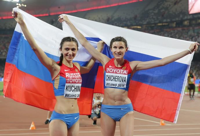 atletismo rússia Maria Kuchina Anna Chicherova (Foto: AFP)