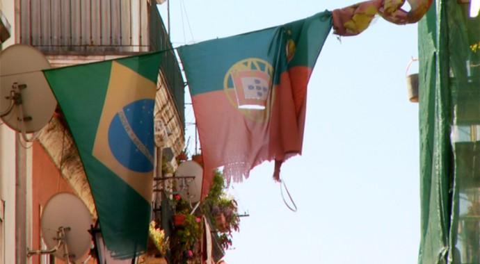 Bandeiras Brasil e Portugal Lisboa (Foto: Carlos Velardi / EPTV)