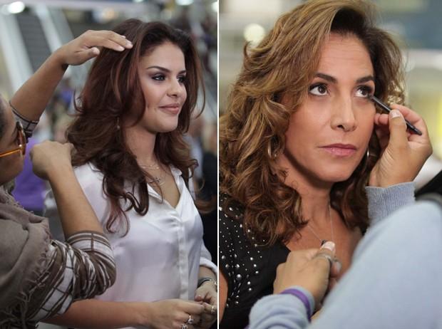 Atrizes dão retoque no cabelo e maquiagem antes de gravar.jpg (Foto: Salve Jorge / TV Globo)