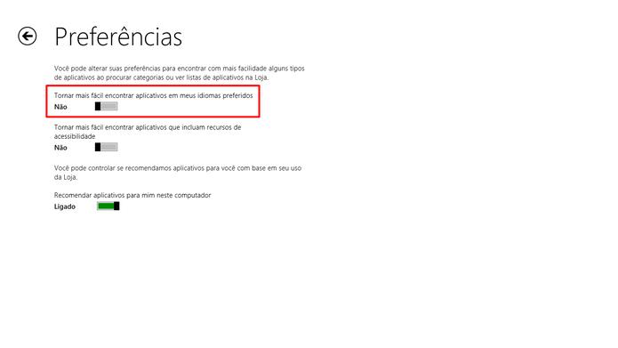 Desative a opção indicada na Windows Store para ter uma melhor sugestão de aplicativos disponíveis em outros países (Foto: Reprodução/Elson de Souza)