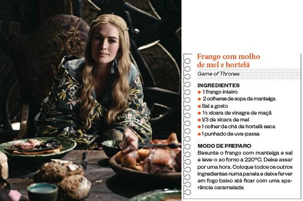 CONTRASTE A personagem Cersei Lannister num banquete,   em  Game of  Thrones. A série  é sangrenta, mas  a comida é leve (Foto: Divulgação)