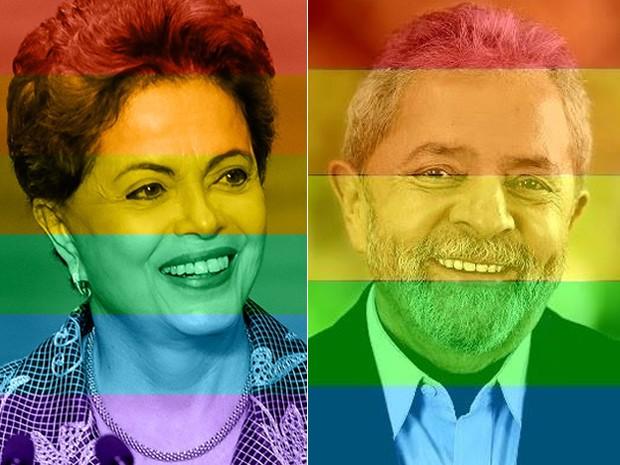 Fotos publicadas nos perfis da presidente Dilma e do ex-presidente Lula com as cores do arco-íris (Foto: Reprodução/Facebook)