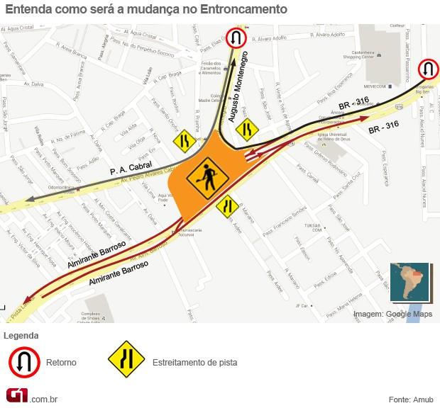 Info mudanças no Entroncamento (Foto: Nathiel Moraes/G1)