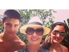 Fátima Bernardes aproveita último dia de férias com os filhos