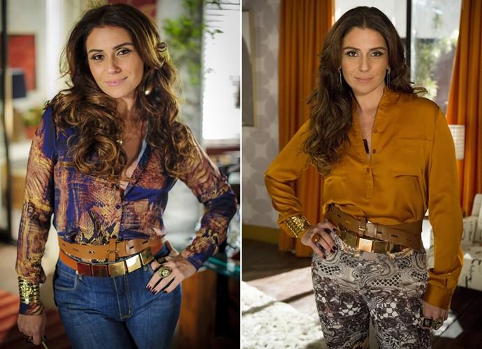 Giovanna Antonelli com os looks da delegada Heloisa de Salve Jorge (Foto: Alex Carvalho / Raphael Dias / TV Globo)