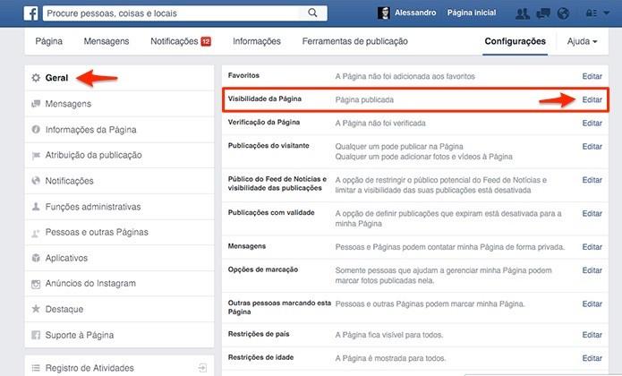 Opção de visibilidade da página está na seção Geral das configurações. (Foto: Reprodução/Alessandro Junior)
