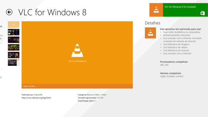 Loja Windows Store exibe pequeno pop up de notificação da instalação do VLC Player (Foto: Reprodução/Elson de Souza)