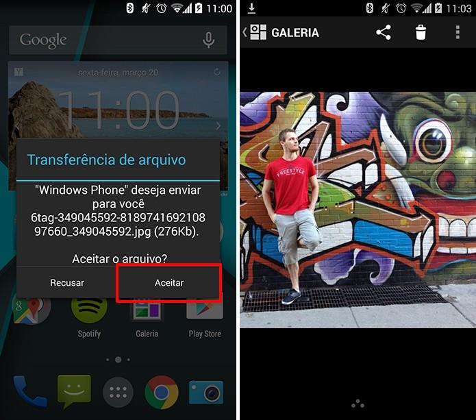 Android pedirá confirmação e exibirá arquivo após a troca via Bluetooth com Windows Phone (Foto: Reprodução/Elson de Souza)