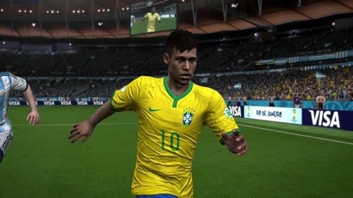 Neymar e a nova camisa do Brasil, agora no Fifa 14 (Foto: Reprodução/Daniel Molina)