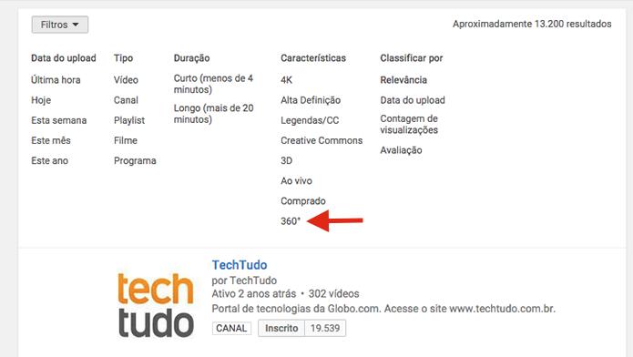 Definindo resultados para vídeos em 360 graus com o filtro de busca do YouTube (Foto: Reprodução/Marvin Costa)