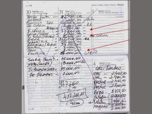 Agenda foi apreendida na casa de um dos envolvidos na suposta fraude (Foto: Divulgação/MP-AP)