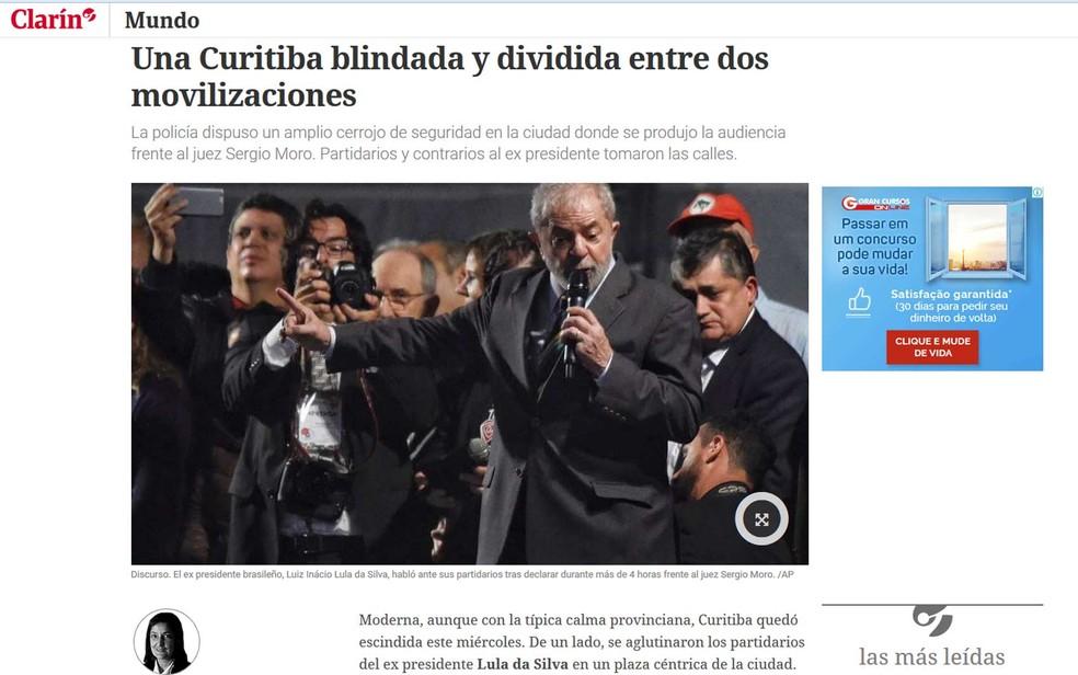 """""""Clarín"""" informou sobre a bipolaridade de uma Curitiba """"blindada e dividida"""", mas civilizada (Foto: Reprodução / Clarín)"""