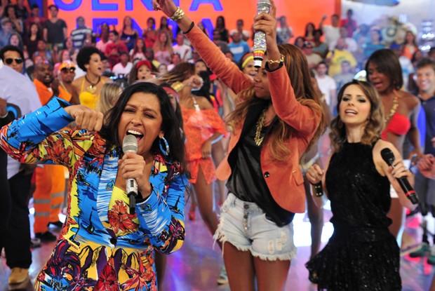 Sandy cai no samba no Esquenta! (Foto: Divulgação / Rede Globo)