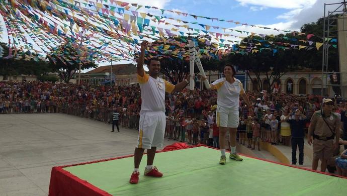 Revezamento da Tocha Olímpica - Assu-RN (Foto: Augusto Gomes/GloboEsporte.com)