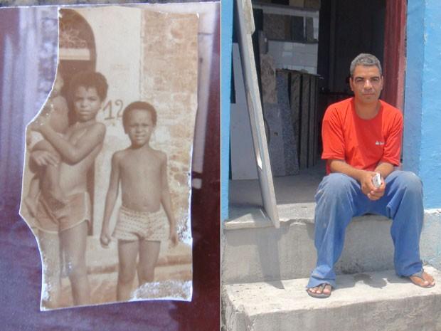 Pedro Evangelista segura uma das irmãs no colo na década de 70, na Ladeira da Conceição. (Foto: Maiana Belo / G1 BA)