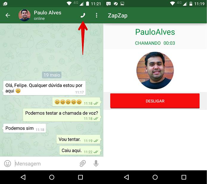 Efetuando a chamada de voz no Zapzap Messenger (Foto: Felipe Alencar/TechTudo)