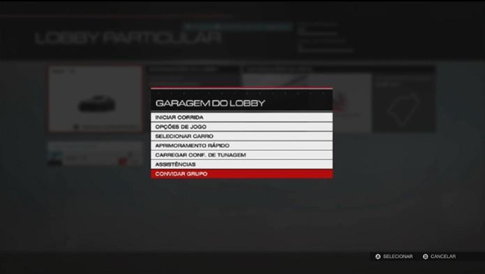 Forza 5: aperte o botão Menu para convidar seus amigos da Xbox Live para jogar (Foto: Reprodução/ Matheus Vasconcellos)