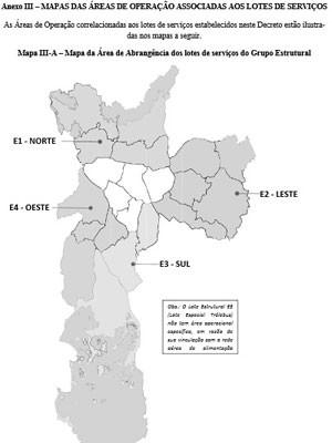 Em relação à rede estrutural, ou seja, ônibus que vão percorrer distâncias maiores, a cidade será dividida em quatro grandes regiões (Norte, Sul, Leste e Oeste) (Foto: Reprodução/Diário Oficial)
