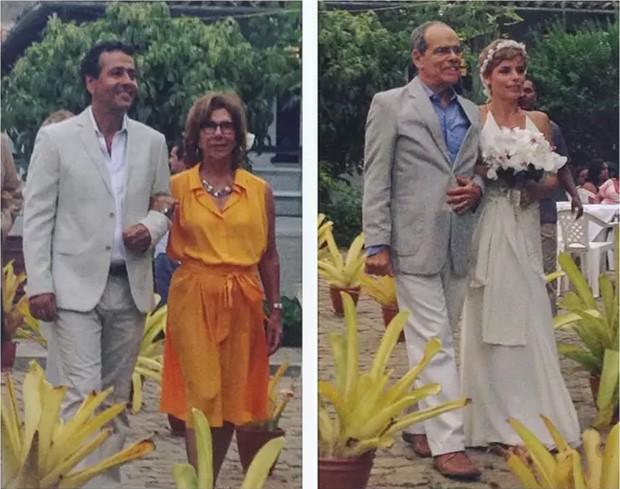 Marcos Palmeira entrou na igreja acompanhado da mãe, Vera Maria de Paula, enquanto Gabriela entrou com o pai  (Foto: Instagram / Reprodução)