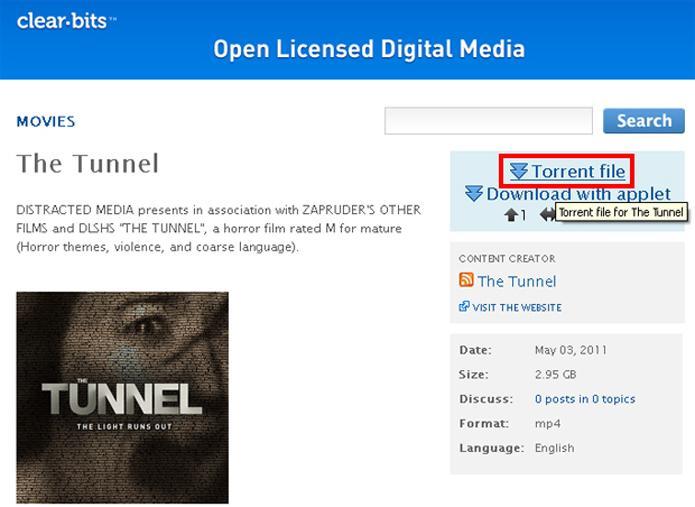 Baixando o arquivo Torrent do filme The Tunnel (Foto: Reprodução/Ramon Cardoso)