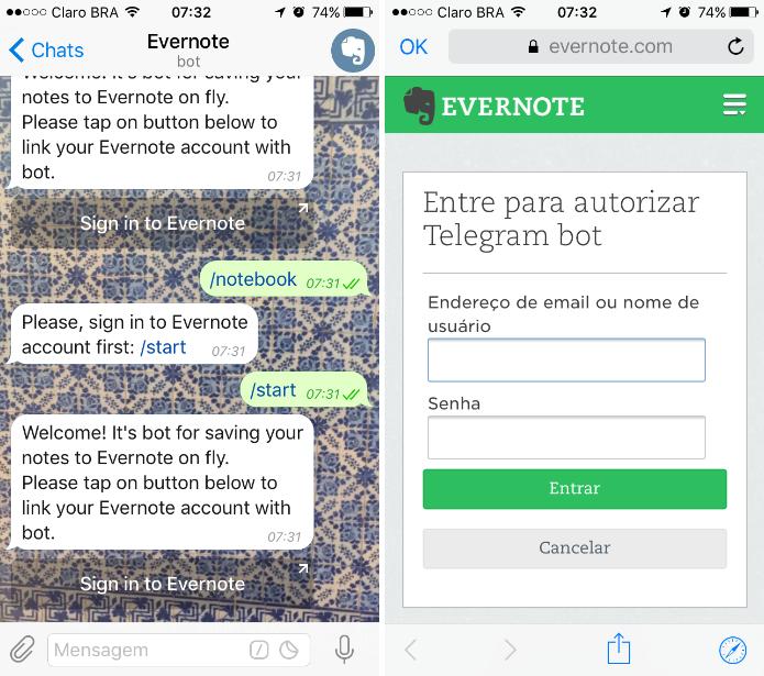 O @evernotebot permite vincular o Telegram ao Evernote (Foto: Reprodução/Daniel Ribeiro)