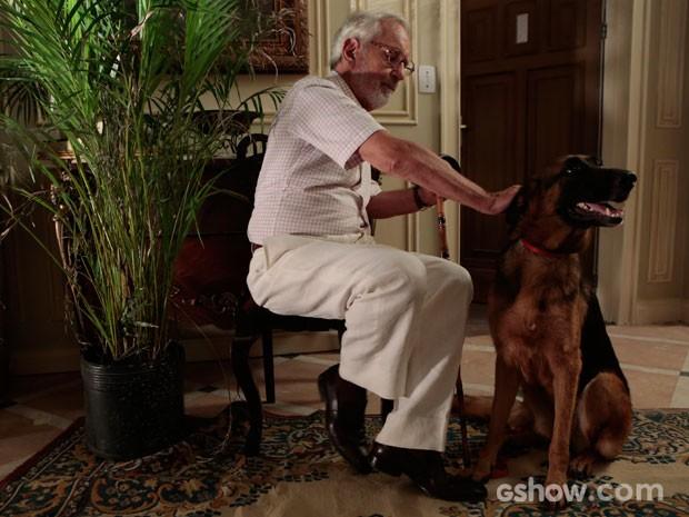 Benjamin é puro carinho com seu cão de estimação. Que graça! (Foto: Felipe Monteiro/TV Globo)