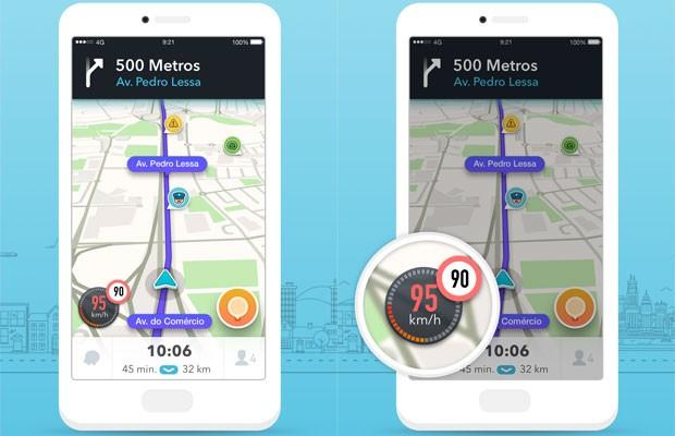 Waze implanta velocímetro, que acompanha velocidade e mostra quando motorista ultrapassa limte da via. (Foto: Divulgação/Waze)