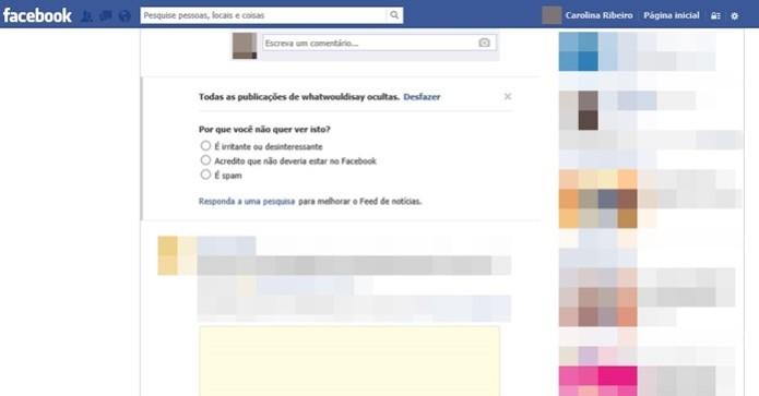 Mensagem confirmando que as postagens sobre o app What Would I Say foram ocultadas do Facebook. (Foto: Reprodução/Carolina Ribeiro)