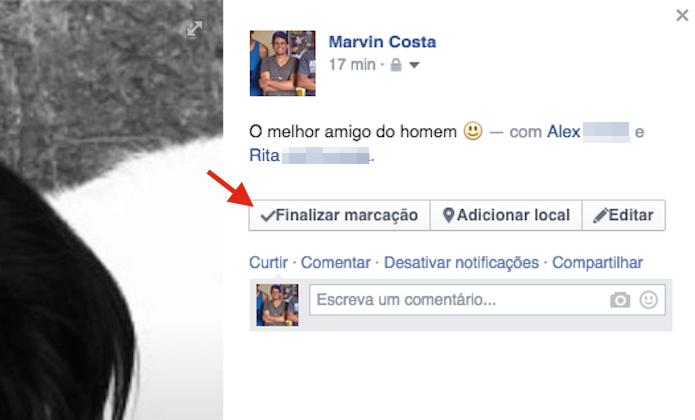 Finalizando a marcação de uma foto no Facebook (Foto: Reprodução/Marvin Costa)