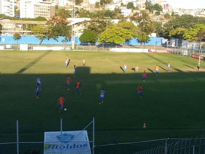 Jogadores do Vitória-ES retornam aos treinos no Ninho da Águia (Foto: Richard Pinheiro/GloboEsporte.com)