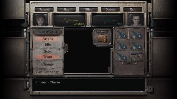 Resident Evil Zero HD Remaster: amuletos ocupam muito espaço no inventário (Foto: Reprodução/YouTube)