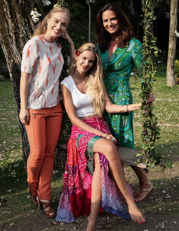 Angélica grava com Luiza e Yasmin Brunet (Foto: TV Globo/ Camila Camacho)