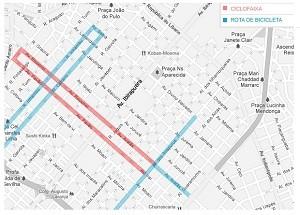 Ciclofaixa não faz ligação com outros pontos da cidade (Foto: Arte/G1)