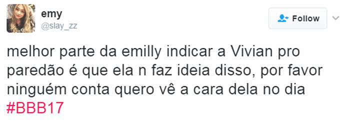 Tweet indicação Emilly (Foto: Reprodução da Internet)